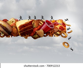 Junk food health risk nutrition concept as a group of people running and falling on a pile of high sugar sodium and cholesterol fat snacks as a diet metaphor with 3D illustration elements.