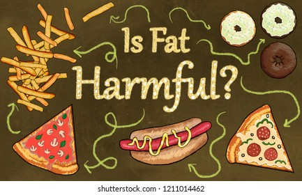 Junk Food and the Question: Is Fat Harmful? Illustrated in classic Drawing Style on a Brown Blackboard