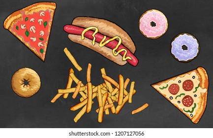 Junk Food such as Dougnuts, French Fries, Pizza and Hot Dog illustrated on Blackboard