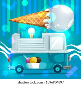 Junkfood Car Ice Cream Shop. Shop Runs, Car Cartoon, ice Cream shop. -Illustration