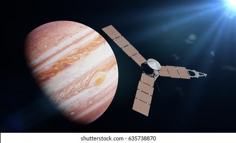 Juno spacecraft in front of the planet Jupiter lit by the Sun (3d illustration, elements of this image are furnished by NASA)