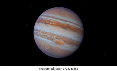 Jupiter 3d rendering planet science illustration. Image elements furnished by NASA.