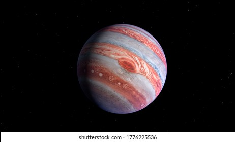 Jupiter is the largest planet in the solar system. Image elements furnished by NASA. 3d rendering illustration. Showing great red spot.