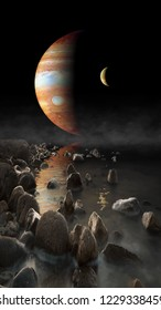 Jupiter  rise seen from the surface of its moon Europa illustration. Elements of this image furnished by NASA