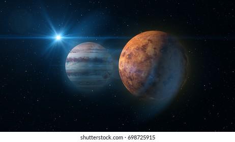 Jupiter and Venus Planet Conjunction
