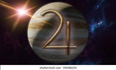 Jupiter zodiac horoscope symbol and planet. 3D rendering