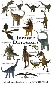 Jurassic Dinosaurs 3D Illustration - This is a collection of various dinosaurs including carnivores, herbivores and flying reptiles that lived in the Jurassic Period.