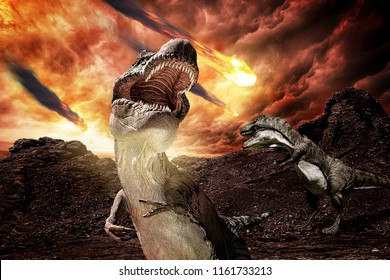 jurassic dinosaurs fighting before extinction - 3d rendering