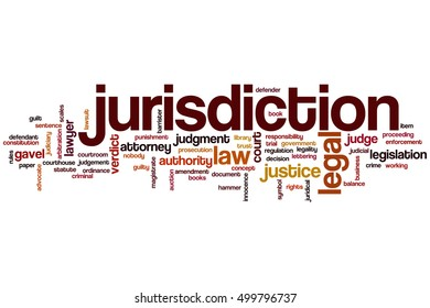 Jurisdiction word cloud concept, tags related to jurisdiction and law. Jurisdiction isolated on white.