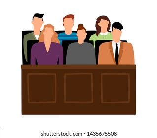 Jury trial. Jurors court in courtroom, prosecution people illustration in cartoon style