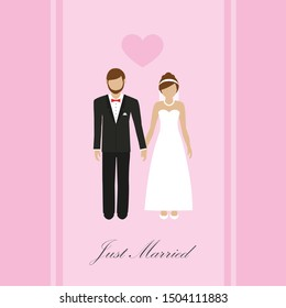 just married greeting card with bride and groom  illustration