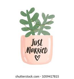 Just married, succulent pot illustration