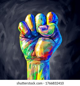 Justice abstract concept as a fist painted in diverse colors representing diversity and power of the community for equal rights and social fairness in a 3D illustration style.