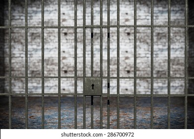 Justice Concept. Old Grunge Prison seen through Jail Bars