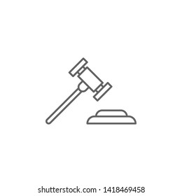 Justice gavel outline icon. Elements of Law illustration line icon. Signs, symbols can be used for web, logo, mobile app, UI, UX