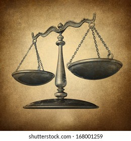 Justice scale with grunge texture as a symbol of law on a vintage parchment texture as a concept for the old legal system in government and society and enforcing historic rights and regulations.