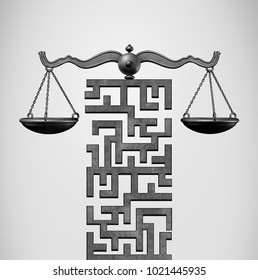 Justice Solution and legal direction concept as a justice scale shaped as a maze or labyrinth as a 3D illustration.