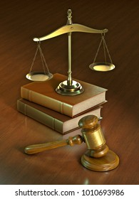 Justice themed composition with a legal hammer, a scale and some books. 3D illustration.