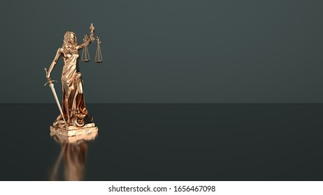 Justitia statue on a dark background. 3d illustration.