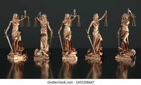 Justitia statues on a dark background. 3d illustration.