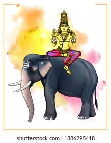 Jyeshta – Indra: Image of Indra, the presiding deity of Jyeshta Nakshatra. He holds an elephant goad and his special weapon, and rides on an elephant