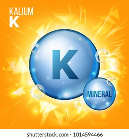 K Kalium. Mineral Blue Pill Icon. Vitamin Capsule Pill Icon. Substance For Beauty, Cosmetic, Heath Promo Ads Design. Mineral Complex With Chemical Formula. Illustration