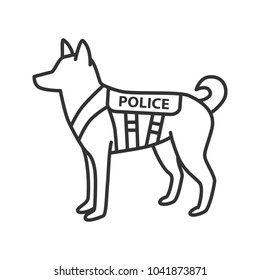 K9 police dog linear icon. German shepherd. Military dog breed. Thin line illustration. Contour symbol. Raster isolated outline drawing