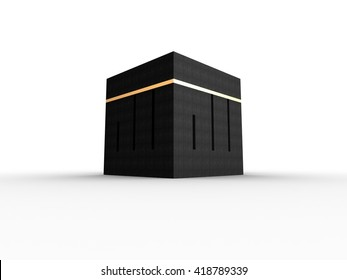 Kabah at Makkah | 3D Illustration | Allah Square KuficCalligraphy