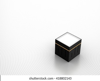 Kabah at Makkah | 3D Illustration | Allah Square Kufic Calligraphy | Perspective View