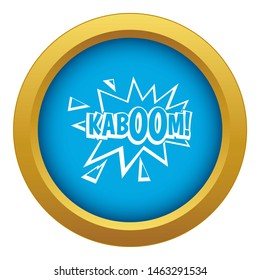 Kaboom, explosion icon blue isolated on white background for any design