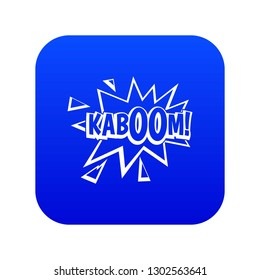 Kaboom, explosion icon digital blue for any design isolated on white illustration