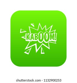 Kaboom, explosion icon digital green for any design isolated on white illustration