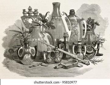 Kabylian pottery and utensils, Algeria. Created by Stop after Duhousset, published on Le Tour Du Monde, Paris, 1867