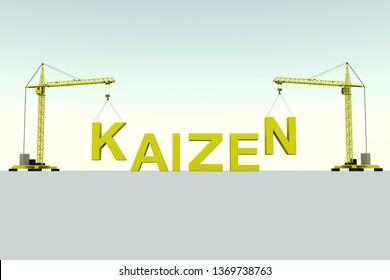 KAIZEN  building concept crane white background 3d illustration