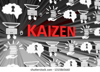 KAIZEN concept blurred background 3d render illustration