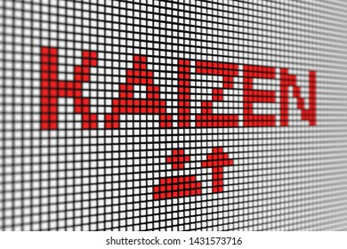 KAIZEN concept scoreboard blurred background 3d illustration