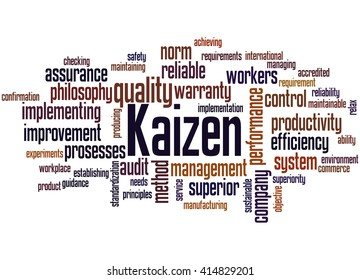 Kaizen - continuous improvement process, word cloud concept on white background.