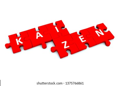 KAIZEN puzzle white background concept 3D illustration
