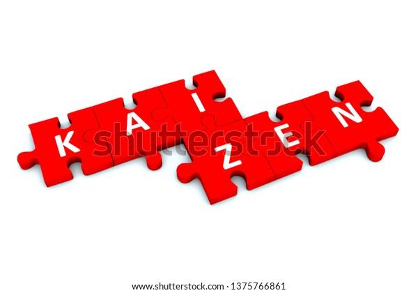 KAIZEN puzzle white background concept 3D illustration