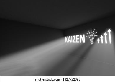 KAIZEN rays volume light concept 3d illustration