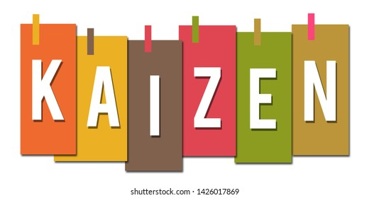 Kaizen text written over colorful background.