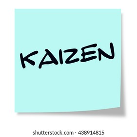 Kaizen written on a blue sticky note making a great concept.
