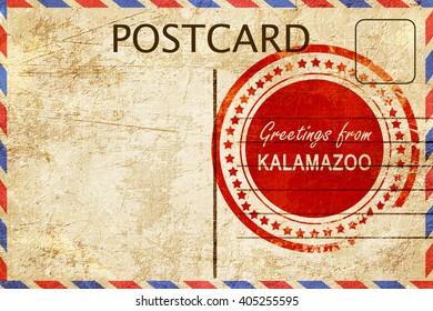 kalamazoo stamp on a vintage, old postcard