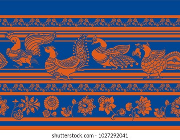 Kalamkari birds and flower motif with stripes