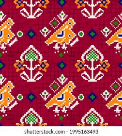 Kalamkari, Patola and flower digital pattern, Indian traditional digital designs