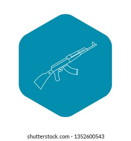 Kalashnikov AK 47 machine icon. Outline illustration of Kalashnikov machine icon for web