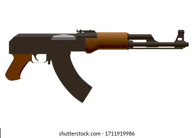 Kalashnikov assault rifle. Polygonal detailed machine. Side view. 3D illustration.