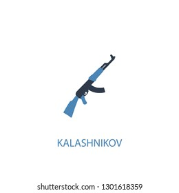 Kalashnikov concept 2 colored icon. Simple blue element illustration. Kalashnikov concept symbol design from Russia set. Can be used for web and mobile UI/UX