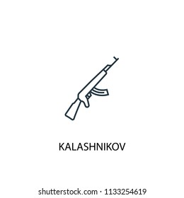 Kalashnikov concept line icon. Simple element illustration. Kalashnikov concept outline symbol design from Russia set. Can be used for web and mobile UI/UX