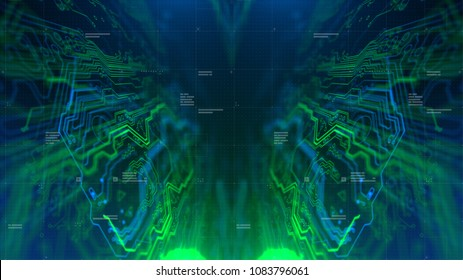 Kaleidoscope Bluish green. Micro chipset Green and Blue Microchip backdrop. Abstract background. Digital technology. PCB. Microchip link. 3d illustration.